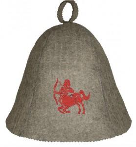 Saunahut Sternzeichen Schütze in Grau